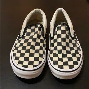 Cream and black classic checkered Vans